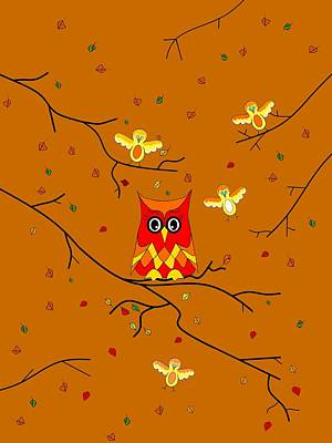 Digital Art - Whimsical Autumn Colors - Birds Owls by Kathleen Sartoris