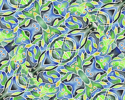 Painting - Whimsical Batik Watercolor Pattern by Irina Sztukowski