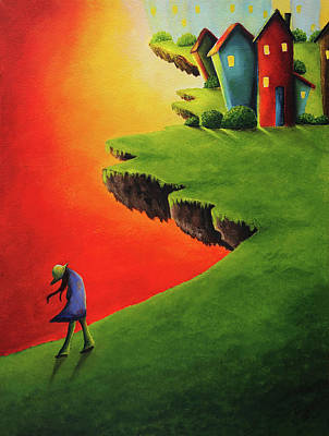 Floating Girl Painting - Dream Land by Nirdesha Munasinghe