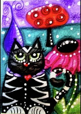 Painting - Whimsical Black White Kitty Cat by Monica Resinger