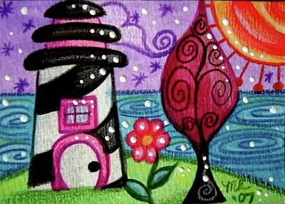 Painting - Whimsical Black White Lighthouse by Monica Resinger