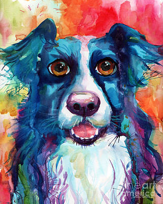 Funny Dog Painting - Whimsical Border Collie Dog Portrait by Svetlana Novikova