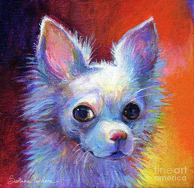 Whimsical Chihuahua Dog Painting Original by Svetlana Novikova