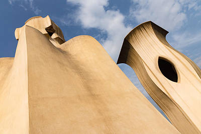 Photograph - Whimsical Chimneys - Antoni Gaudi Smooth Shapes And Willowy Curves - Left by Georgia Mizuleva