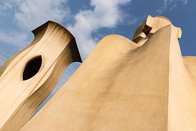 Photograph - Whimsical Chimneys - Antoni Gaudi Smooth Shapes And Willowy Curves - Right by Georgia Mizuleva