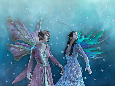 Fantasy Royalty-Free and Rights-Managed Images - Whimsical Christmas Night  by Betsy Knapp
