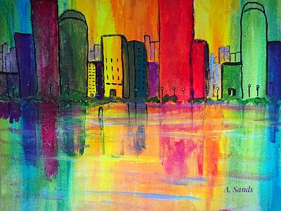 Painting - Whimsical Cityscape by Anne Sands