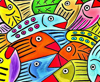 Five-o Painting - Whimsical Colorful Fish by Scott D Van Osdol