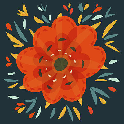 Whimsical Decorative Orange Flower Art Print by Boriana Giormova
