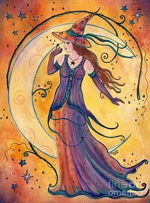 Self-taught Painting - Whimsical Evening Witch by Renee Lavoie