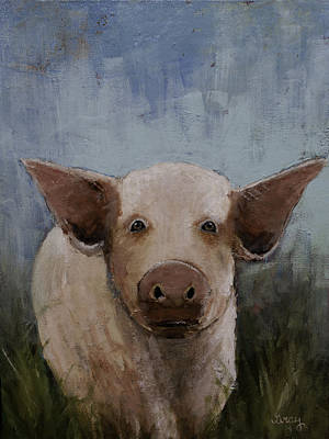 Painting - Whimsical Farm Animal Pig Original Painting On Gallery Wrapped Canvas by Gray  Artus