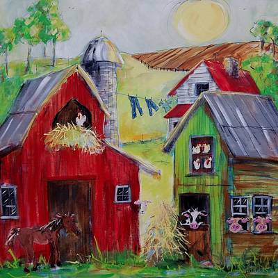 Painting - Whimsical Farm by Terri Einer