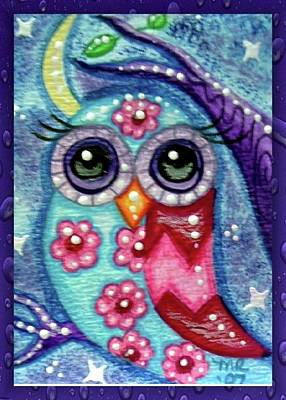 Painting - Whimsical Floral Owl by Monica Resinger