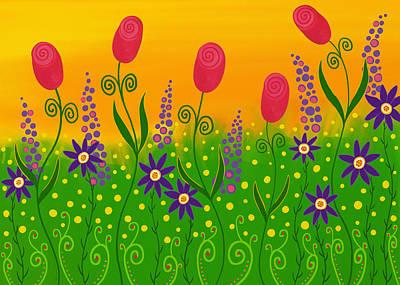 Floral Digital Art Digital Art - Whimsical Flower Garden by SharaLee Art
