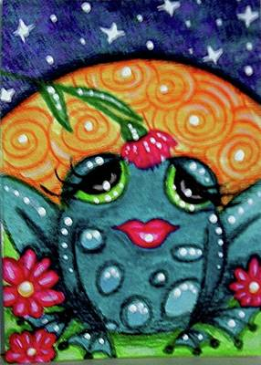 Painting - Whimsical Frog In Moonlight by Monica Resinger