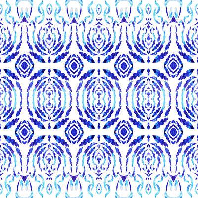 Whimsical Geometry In Blue  Art Print by Irina Sztukowski