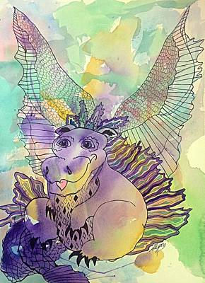 Painting - Whimsical Happy Dragon by Ellen Levinson