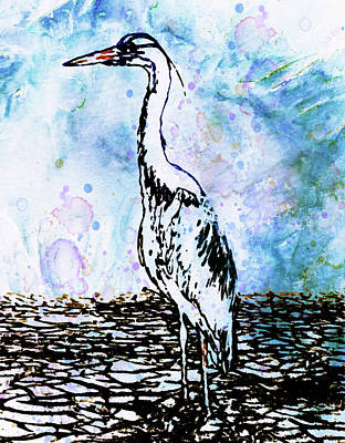 Heron Mixed Media - Whimsical Heron Art by Georgiana Romanovna