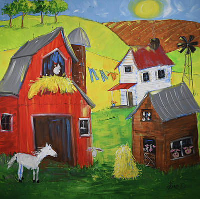 Painting - Whimsical Hobby Farm by Terri Einer
