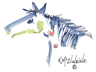 Whimsical Horse Head Watercolor Painting By Kmcelwaine Art Print by Kathleen McElwaine