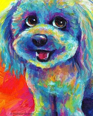 Whimsical Labradoodle Painting By Art Print