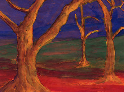 Painting - Whimsical Landscape With Intense Colors by Lenora  De Lude