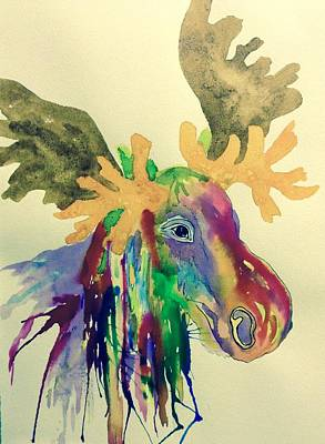 Painting - Whimsical Moose - Multicolored by Ellen Levinson