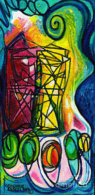 Painting - Creve Coeur Streetlight Banners Whimsical Motion 1 by Genevieve Esson