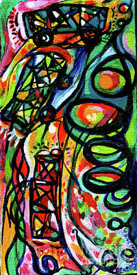 Painting - Creve Coeur Streetlight Banners Whimsical Motion 3 by Genevieve Esson