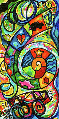 Painting - Creve Coeur Streetlight Banners Whimsical Motion 4 by Genevieve Esson
