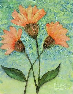 Painting - Whimsical Orange Flowers - by Helen Campbell