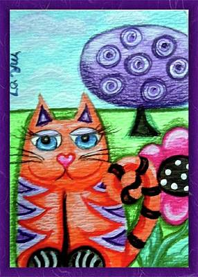 Painting - Whimsical Orange Striped Kitty Cat by Monica Resinger