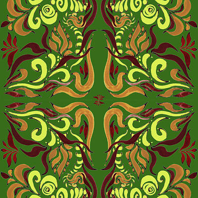 Whimsical Organic Pattern In Yellow And Green I Art Print