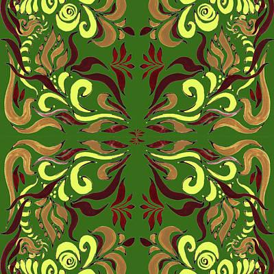 Whimsical Organic Pattern In Yellow And Green II Art Print