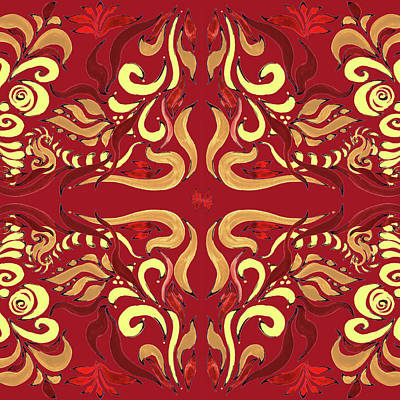 Lilies Royalty-Free and Rights-Managed Images - Whimsical Organic Pattern in Yellow and Red I by Irina Sztukowski