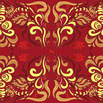 Lilies Royalty-Free and Rights-Managed Images - Whimsical Organic Pattern in Yellow and Red II by Irina Sztukowski