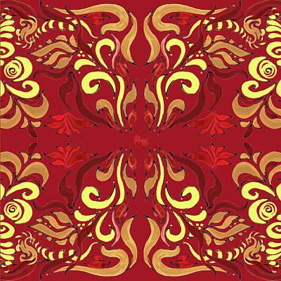 Painting - Whimsical Organic Pattern In Yellow And Red II by Irina Sztukowski