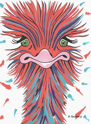 Painting - Whimsical Ostrich by Kathleen Sartoris