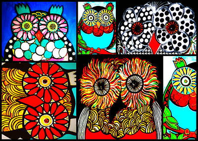Black And White Owl Painting - Whimsical Owl Collage by Amy Carruth-Drum
