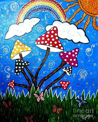 Painting - Whimsical Painting-colorful Mushrooms by Priyanka Rastogi