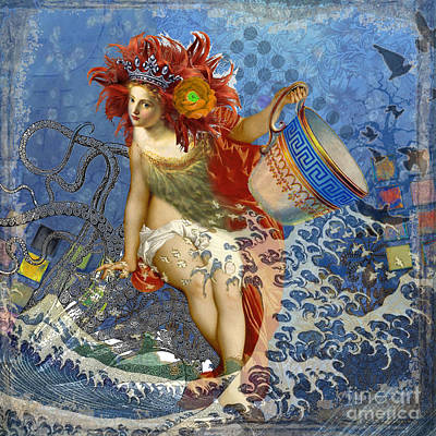 Steampunk Royalty-Free and Rights-Managed Images - Mermaid Aquarius Vintage Whimsical Gothic Funny by Mary Hubley