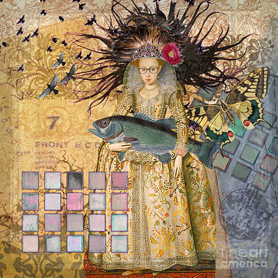 Steampunk Royalty-Free and Rights-Managed Images - Whimsical Pisces Woman Renaissance fishing Gothic by Mary Hubley