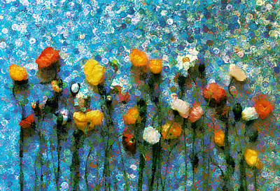 Mixed Media - Whimsical Poppies On The Blue Wall by Georgiana Romanovna