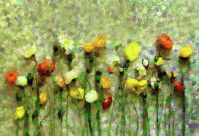 Mixed Media - Whimsical Poppies On The Wall by Georgiana Romanovna