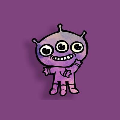 Digital Art - Whimsical Purple Alien by Jean Moore