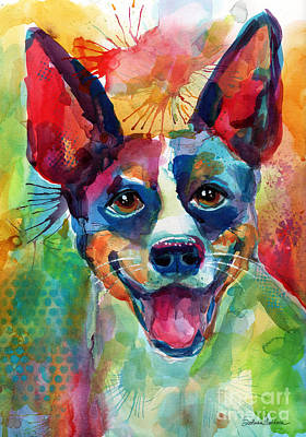 Watercolor Pet Portraits Wall Art - Painting - Whimsical Rat Terrier Dog Painting by Svetlana Novikova