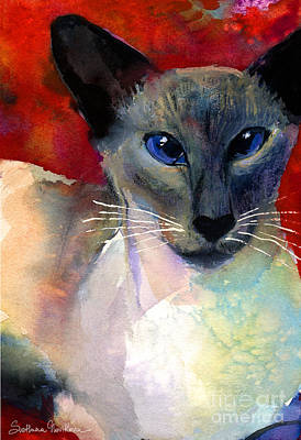 Watercolor Pet Portraits Painting - Whimsical Siamese Cat Painting by Svetlana Novikova
