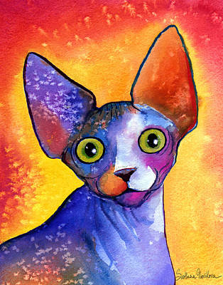 Watercolor Pet Portraits Painting - Whimsical Sphynx Cat Painting by Svetlana Novikova