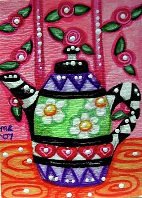 Painting - Whimsical Teapot With Rose Wallpaper by Monica Resinger