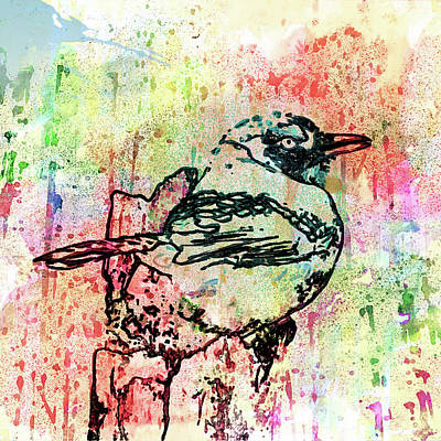 Mixed Media - Whimsical Tit Bird by Georgiana Romanovna